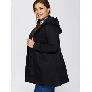 Hooded Buttoned Back Bowknot Coat - BLACK ONE SIZE