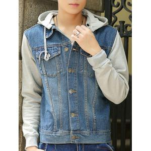 Pocket Denim Insert Hooded Jacket - Light Blue - M