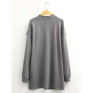 Casual Flounce Long Sleeve Mini Sweatshirt Dress - GRAY L