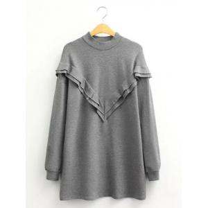 Casual Flounce Long Sleeve Mini Sweatshirt Dress