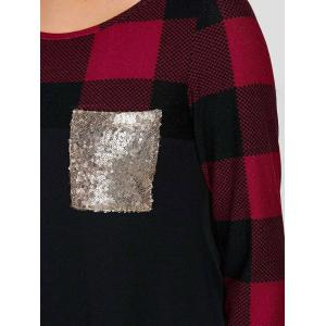 Sequined Pocket Plaid Sleeve Tee - RED WITH BLACK M