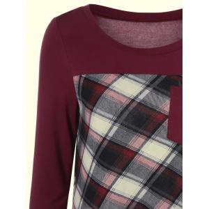 Plaid Patchwork One Pocket Tee - BURGUNDY M