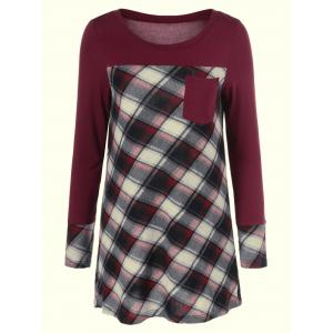 Plaid Patchwork One Pocket Tee
