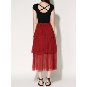 Pleated Layered Tulle Skirt -