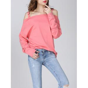 Cold Shoulder Longline T-Shirt - SHALLOW PINK ONE SIZE