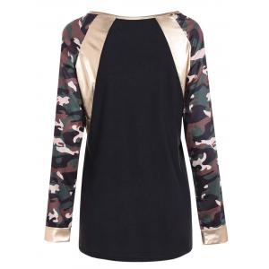 Camo Print Faux Leather Panel T-Shirt - BLACK 2XL