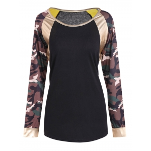 Camo Print Faux Leather Panel T-Shirt - Black - M