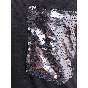 Camo Print Long Sleeve Sequined Pocket T-Shirt -