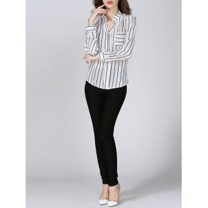 Chiffon Striped Beaded Blouse - STRIPE S