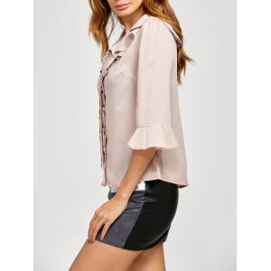 Pussy Bow Bell Sleeves Ruffled Blouse -