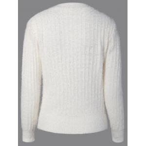 Knitted Crew Neck Fuzzy Pullover Sweater - WHITE ONE SIZE