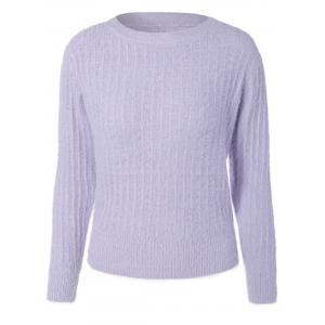 Knitted Crew Neck Fuzzy Pullover Sweater - Light Purple - One Size