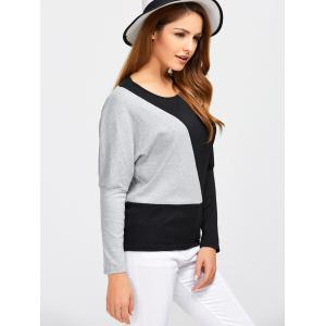 Batwing Sleeve Color Block T-Shirt -