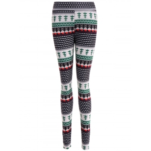 Ornate Print Slim Fit Leggings - Colormix - S