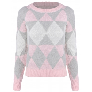 Argyle Jacquard Knitted Sweater