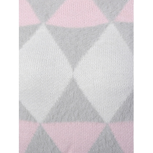 Argyle Jacquard Knitted Sweater - PINK ONE SIZE