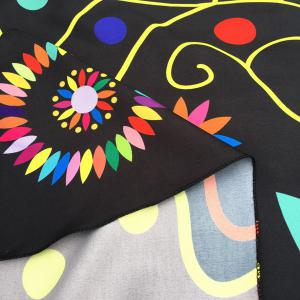 Outdoor Ethnic Colorful Butterfly Wing Scarf - BLACK