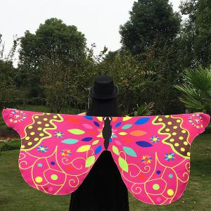 Outdoor Ethnic Colorful Butterfly Wing Scarf - ROSE MADDER