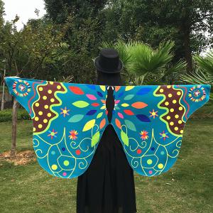 Outdoor Ethnic Colorful Butterfly Wing Scarf - Lake Blue - 130*200cm