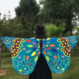 Outdoor Ethnic Colorful Butterfly Wing Scarf - LAKE BLUE