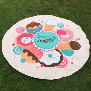 Merry Delicious Sweets Cake Donut Print Round Beach Throw - Off-white - One Size