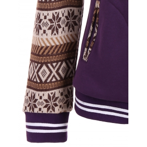 Tribal Print Panel Button Up Hoodie - PURPLE XL