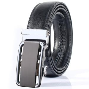Stylish Rounded Rectangle Automatic Buckle Wide Belt - Silver