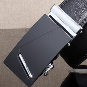 Polished Bar Automatic Buckle Wide Belt - SILVER