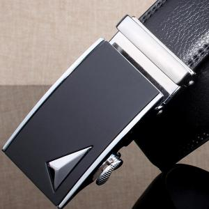 Stylish 3D Triangle Automatic Buckle Wide Formal Belt - SILVER