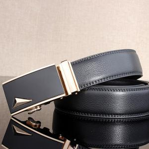Stylish 3D Triangle Automatic Buckle Wide Formal Belt - GOLDEN