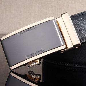 Simple Embellished Alloy Automatic Buckle Wide Belt -