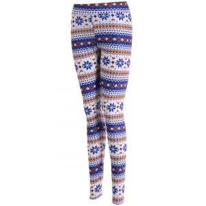 Stretchy Ornate Print Christmas Leggings - COLORMIX XL