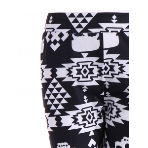 Skull Print Stretchy Leggings - BLACK XL