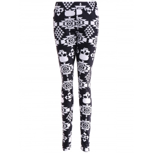 Skull Print Stretchy Leggings - Black - S