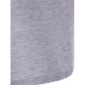 Graphic Raglan Sleeves Color Block Tee - PINK AND GREY XL