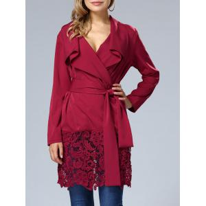 Lace Hem V Neck Wrap Dress - WINE RED XL