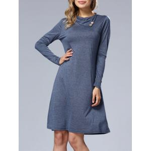 Long Sleeve A Line Casual Dress - Blue - S