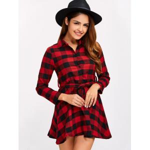 Buttoned Plaid Flannel Long Sleeve Shirt Dress - RED XL