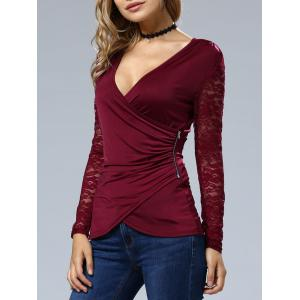 Sleeve Lace Wrap Top - WINE RED XL