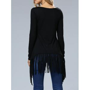 Fringe Hem Long Sleeve Tee - BLACK XL