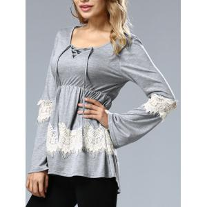 Long Sleeve Lace Up Top - GRAY XL