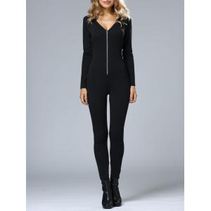 Hooded Slim Bodycon Jumpsuit -
