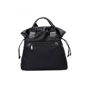 Splicing Drawstring Double Pocket Tote Bag -