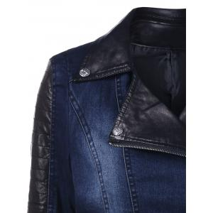 PU Leather Rhinestone Insert Denim Jacket -