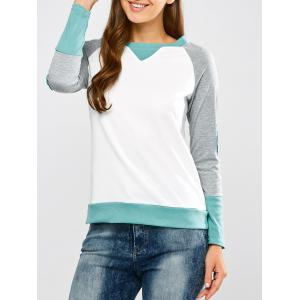 Raglan Sleeve Elbow Patch Contrast Tee