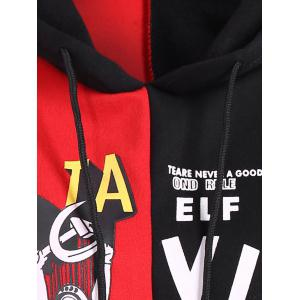 Drawstring Letter Print Contrast Hoodie - RED ONE SIZE