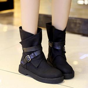 Flat Heel Buckle Cross Straps Boots -