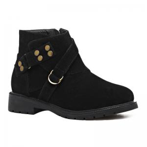 Metal Zip Flat Heel Ankle Boots - Black - 37