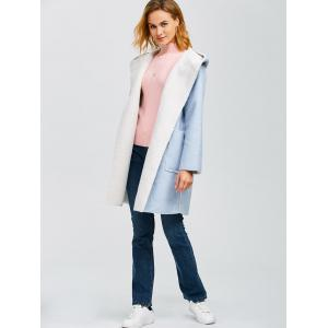 Hooded Faux Shearling Lined Wrtap Coat -