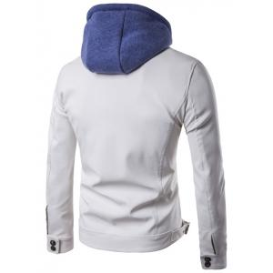 Faux Twinset Hooded Zipper Design PU Leather Jacket - WHITE 3XL
